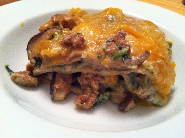Butternut Squash Lasagna with Sausage, Mushrooms and Broccoli Rabe