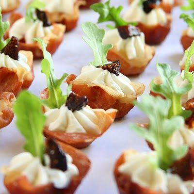 Prosciutto Cups with Goat Cheese and Fig | I love food | Pinterest
