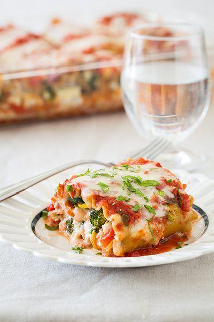 Roasted Vegetable Lasagna Roll Ups | Supper for Me | Pinterest