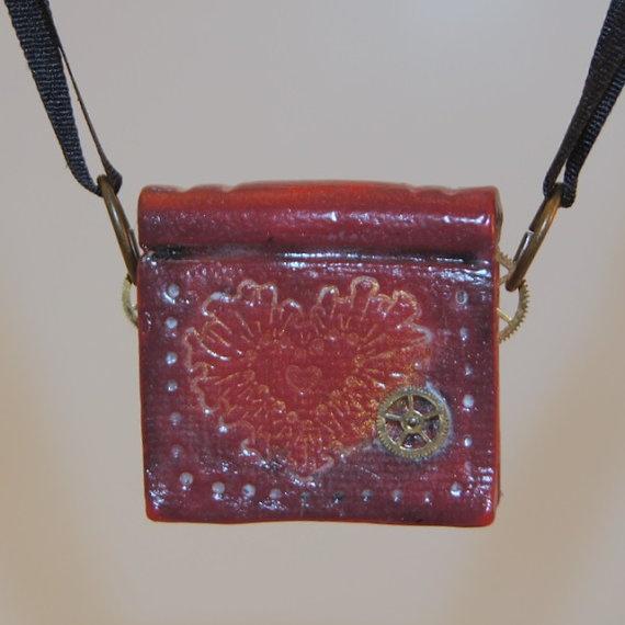 Steampunk Valentine Polymer Clay Book Charm