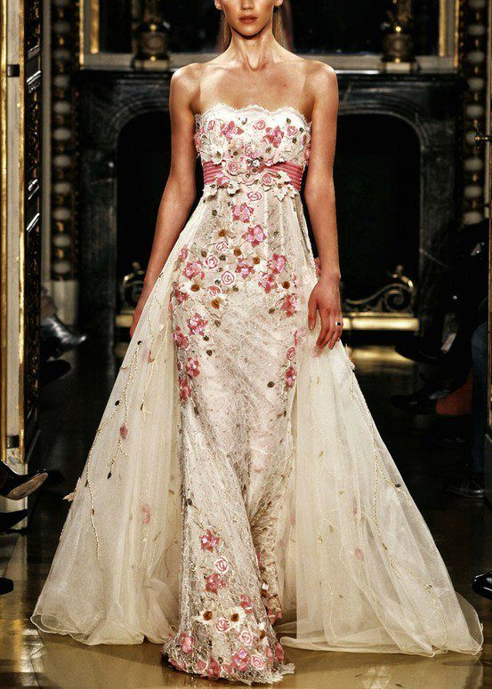 Bridal gown with color accents wedding gowns go chic for Wedding dresses with color accents