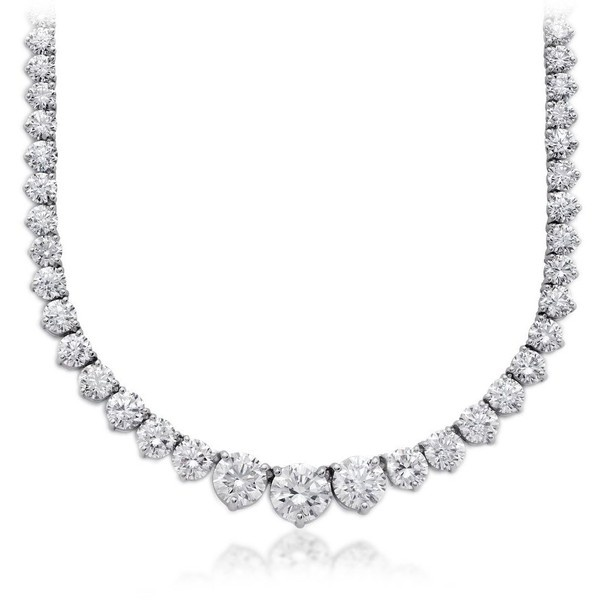 Blue Nile Diamond Eternity Necklace in Platinum (31.01 ct. tw.) ($145,000) found on Polyvore