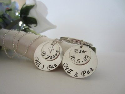 Unique Wedding Gifts Under USD75 : Personalized 50th Wedding Anniversary Necklace and Keychain Gift Set ...