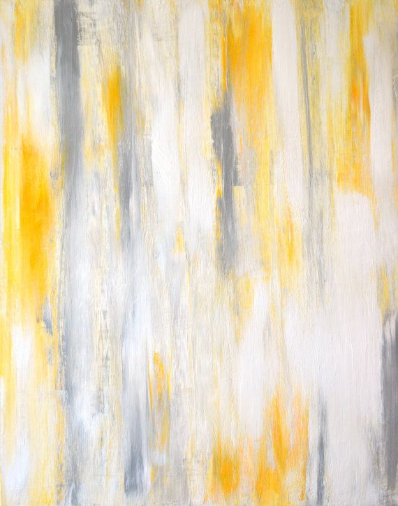 Acrylic Abstract Art Painting Yellow Grey And White