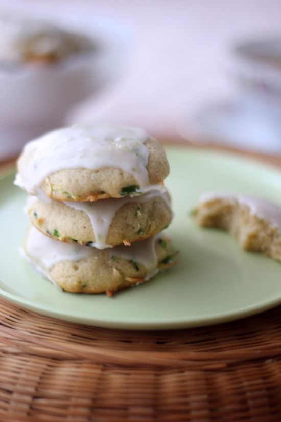 Lime Glazed Zucchini and Jalapeno Cookies