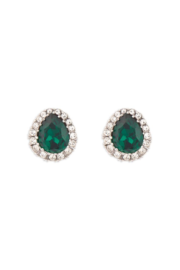 Ciner Emerald Pear Stud Earrings