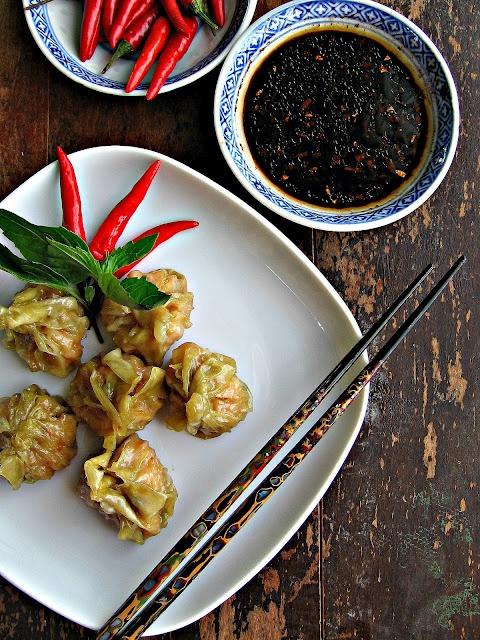 Red Curry Shrimp Dumplings (veg. oil, minced ginger, green onions ...
