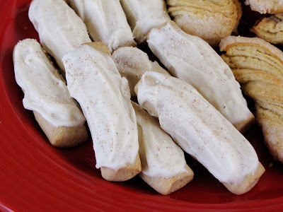 eggnog frosted nutmeg cookie logs | Sweet Anna's