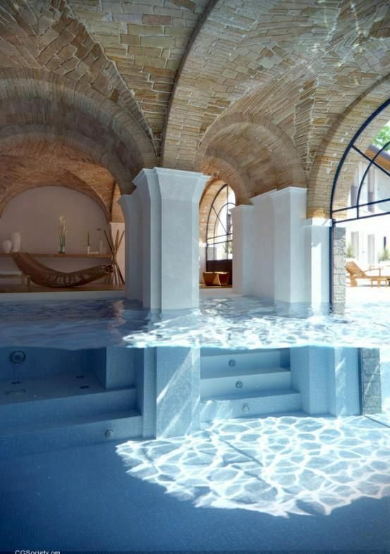 Indoor outdoor pool home design off the mountain for Home outdoor pool