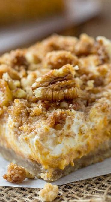 Pumpkin Cheesecake Crumble Squares Recipe — Dishmaps