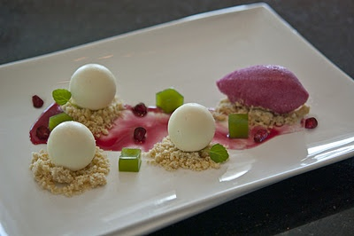 White Chocolate Mousse - Pomegranate Sorbet & Mint Gelee