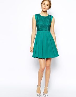 Image 4 of oasis lace bodice skater dress