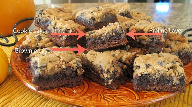 Praline Brookies-3 Layers-Cookie, praline, brownie