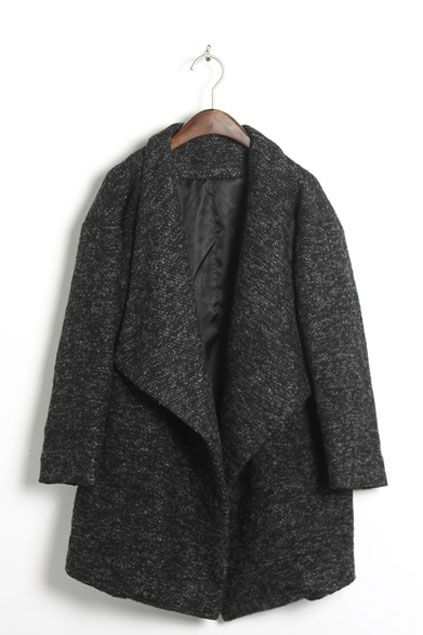 Oasap  Oversized Lapels Tweed Coat