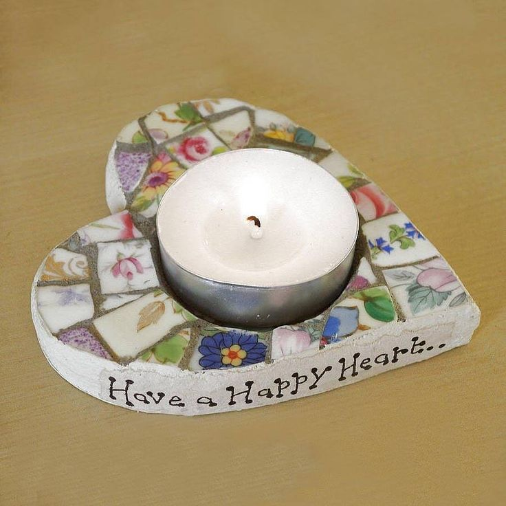 Personalised Mosaic Heart Tea Light Holder