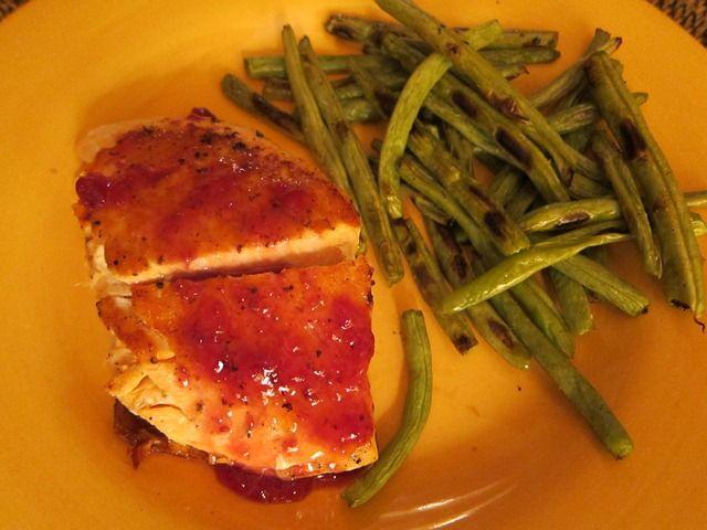 Salmon with Raspberry Glaze - Soooooo good!!!!