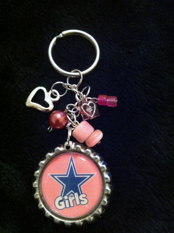 Dallas Cowboy Keychain Pink Key Chain Bottle by ValuableCr8tions, $6.00