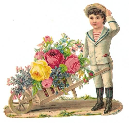 Victorian Die Cut Flower Cart Boy Florist Scrap