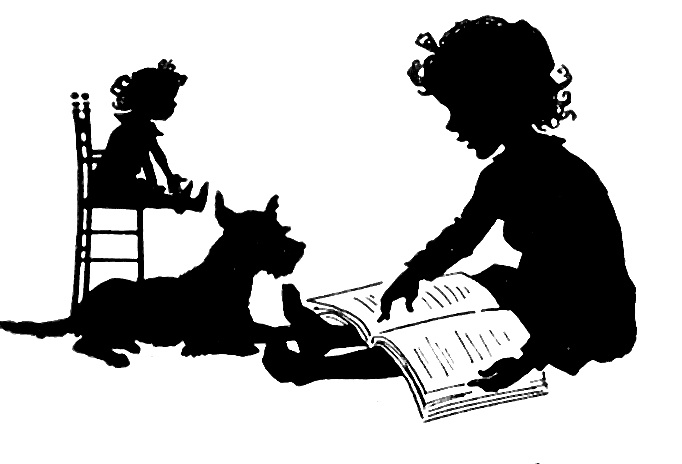 child reading to pet dog and doll silhouette Children Reading Silhouette