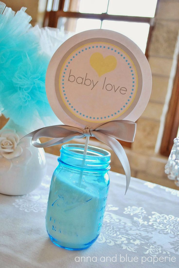 medallion in mason jar centerpiece baby shower pinterest