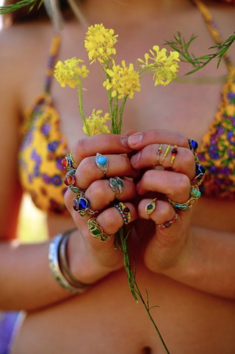 Sweet little gypsy style stacking rings, modern hippie boho chic bikini top