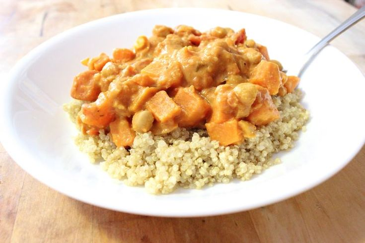 Chickpea and Sweet Potato, Peanut Butter Stew on Quinoa #vegan