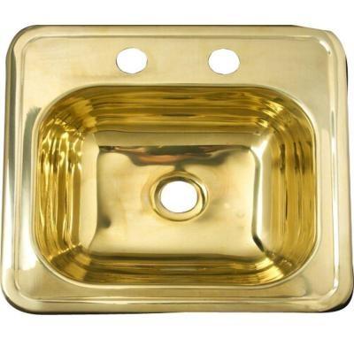 Brass Sink : 15 in. x 15 in. Single Bowl Drop-In Bar Sink in Polished Brass