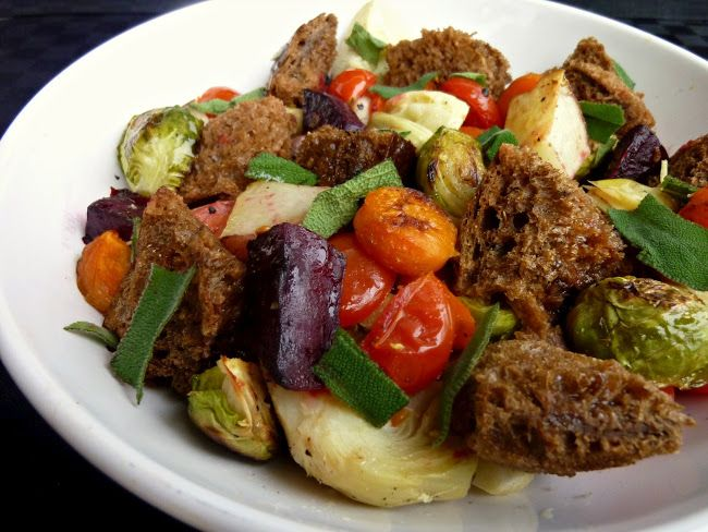 Vegan Roasted Winter Panzanella Salad | Food- Cooking | Pinterest