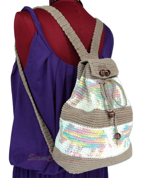 Crochet Backpack Bag : Pin by Linda Huff on Crochet Backpacks & Book Bags Pinterest