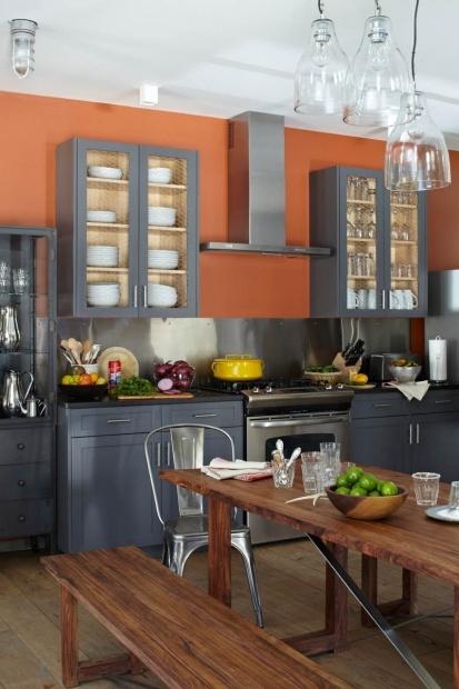 Peach kitchen, grey cabinets, Bavarian Chalet Kitchen  Champalimaud