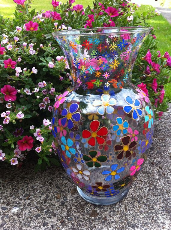 Hand Painted Glass Vase with Flower Design by guynsusan on Etsy $40 00