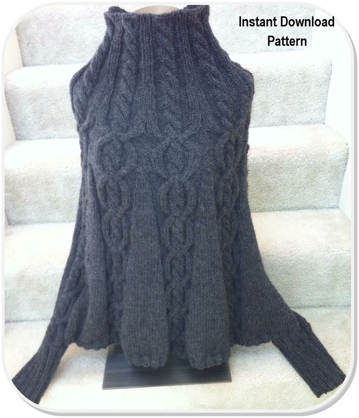 Knitting Pattern For Poncho With Sleeves : Christmas Sale - Pattern - Poncho, Cables & Cuffs
