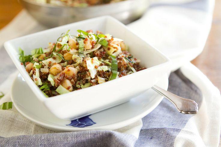Quinoa, cabbage, and garbanzo bean salad [V] // Naturally Ella