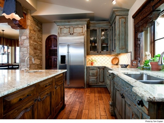 Rustic blue cabinets (kitchen island) with walnut kitchen cabinets and
