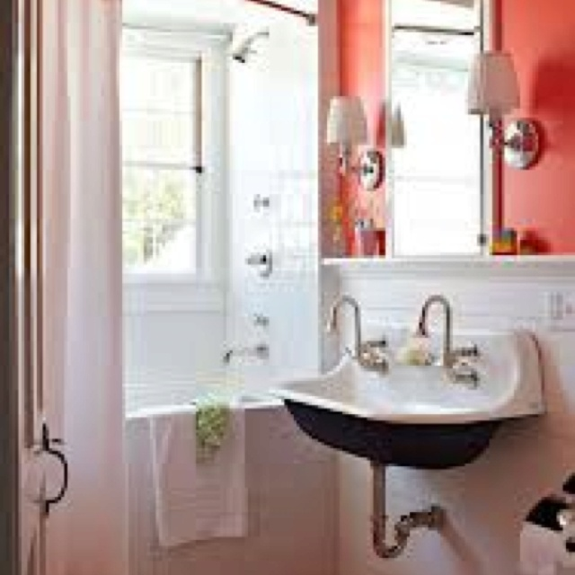 Double sinks in small space. Upstairs Bathroom Pinterest