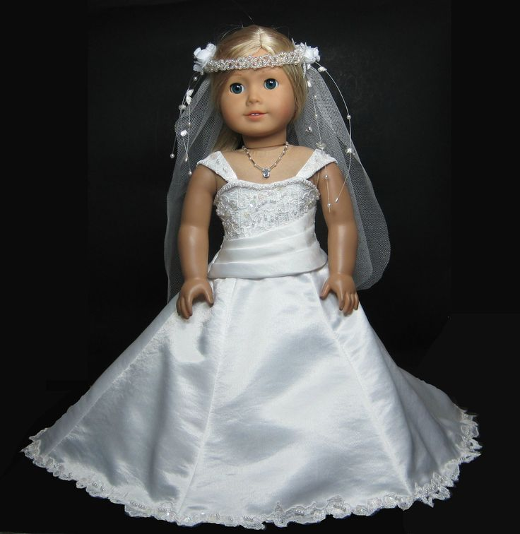 wedding dress with pearl veil that fit american girl doll