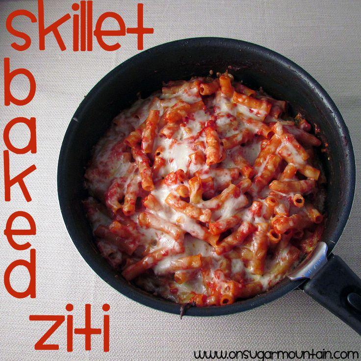 Skillet Baked Ziti - On Sugar Mountain | Recipes - Pasta | Pinterest