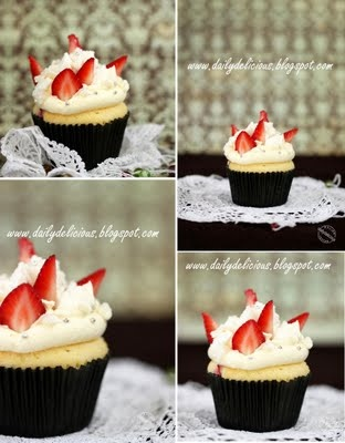Eton mess cupcakes: Strawberry meringue cupcakes
