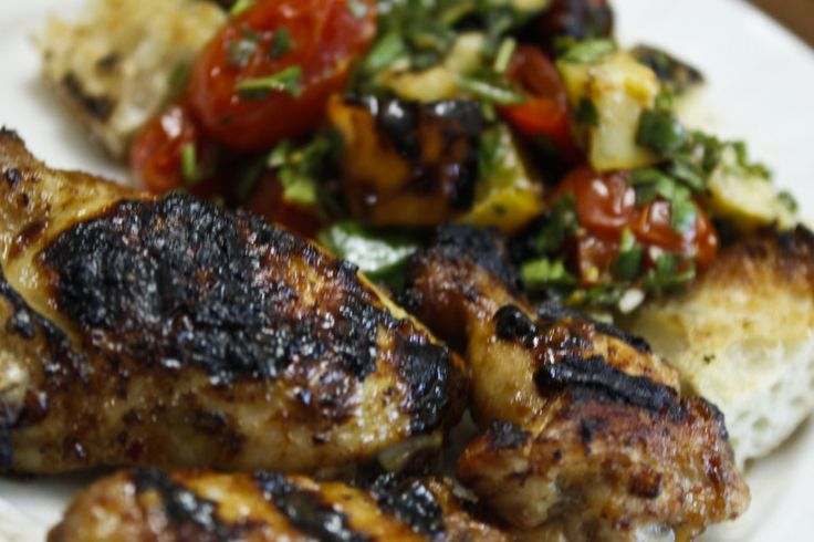 Honey Lime Chicken Wings with Ratatouille Grilled Vegetable Bread ...