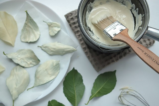 White chocolate leaves Cake Decorating Pinterest