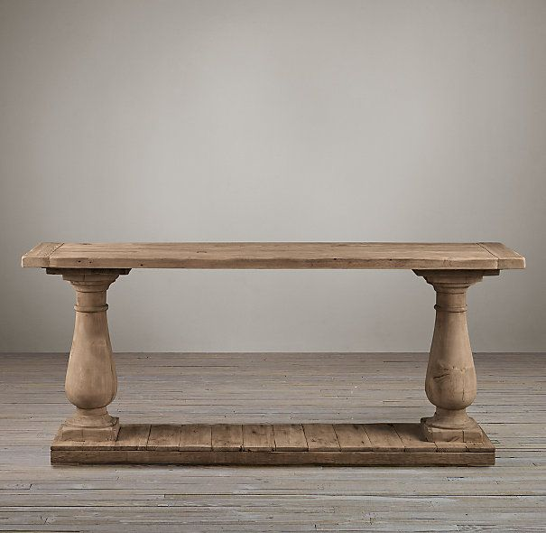 Restoration Hardware Console Table: Balustrade Salvaged Wood Console Table