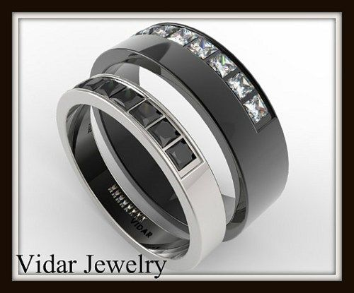 His And Hers Diamond 14kt White And Black Gold Wedding Band Set