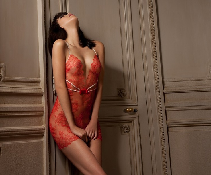 Eva Dress - Absolutely Pom (Romantic Red Patterns Red White Lace Embellishments Revealing Teddy)