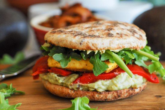 """Tofu Red Pepper Sandwich with Avocado """"Bacon"""" Spread. Even if I use..."""