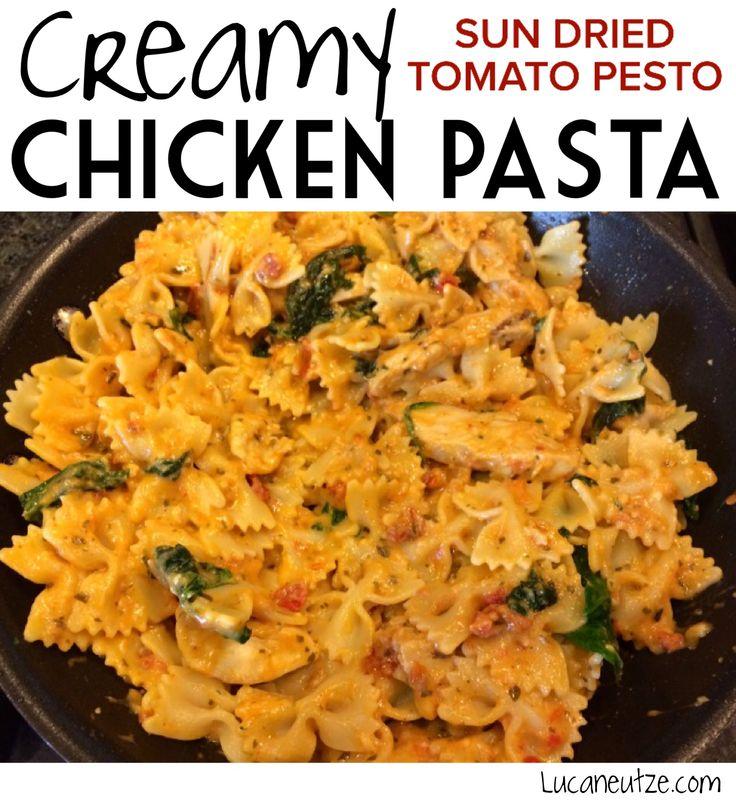 Creamy sun dried tomato pesto pasta with chicken and spinach ...