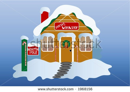 stock vector : Santa's workshop at the north pole, over gradient blue ...