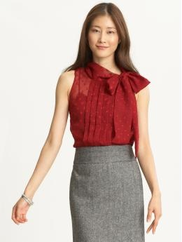 Elizabeth dot tie-neck blouse @ Banana Republic