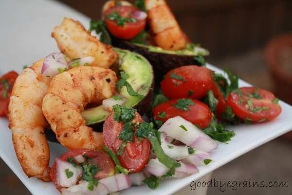 Shrimp-Stuffed Avocado {GoodbyeGrains}   Good Food   Pinterest