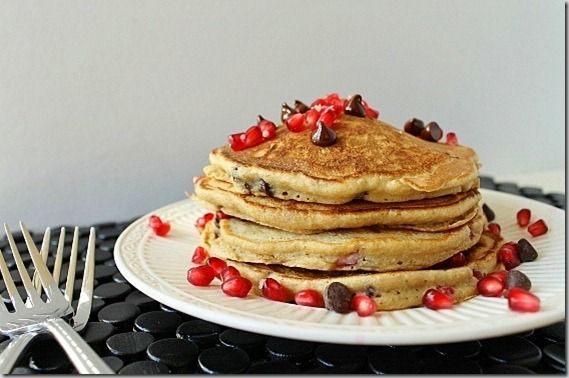 Pomegranate chocolate chip pancakes - why didn't I think of this? I'v...