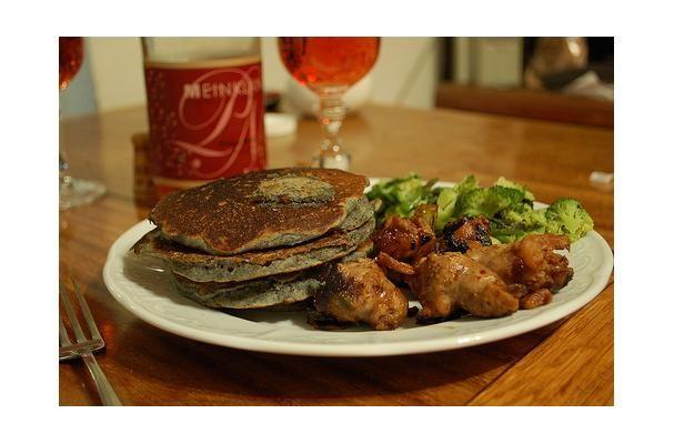 Blueberry Cornmeal Pancakes. Delicious treat